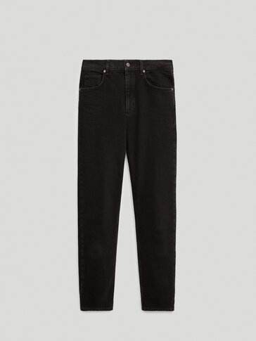 Black high-rise slim fit jeans