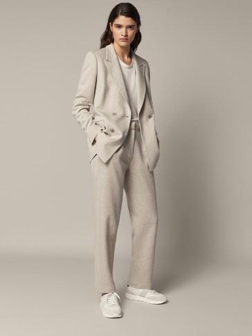 Cotton herringbone trousers