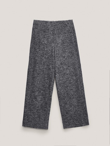 Straight-cut cotton and wool trousers