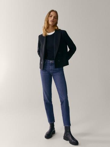 سروال جينز بخصر متوسط