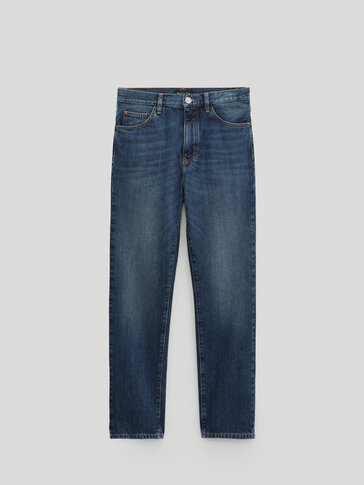 Mid-waist straight-fit jeans