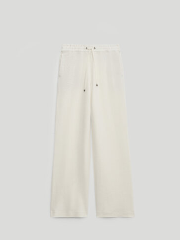 Jogging-fit linen trousers
