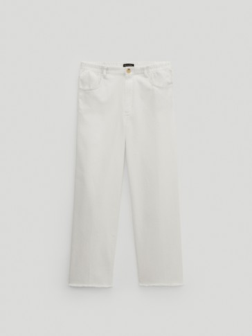 Straight-fit trousers with an elastic waist