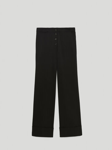 Palazzo trousers with turn-up detail