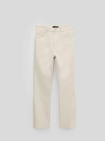 Cropped flare fit trousers
