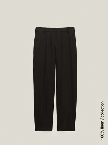 Straight black cotton and linen trousers