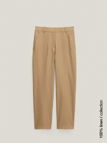 Pantalón lino corte recto