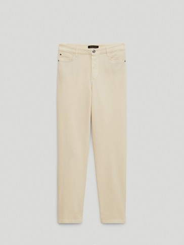 BROKEN TWILL CIGARETTE FIT TROUSERS