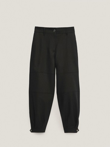 Balloon leg trousers with hem buttons