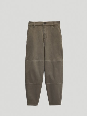 Slouchy cotton seamed trousers