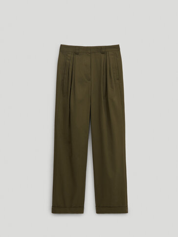 Darted cotton trousers