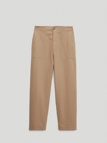 High-waist slim-fit chinos