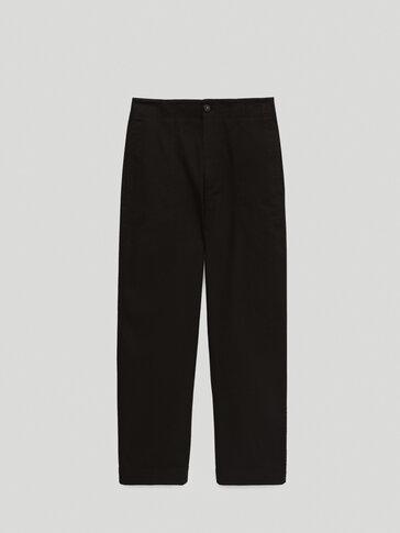 Calças chino de cintura subida slim fit