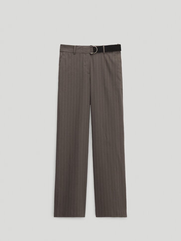 Pinstripe trousers with belt
