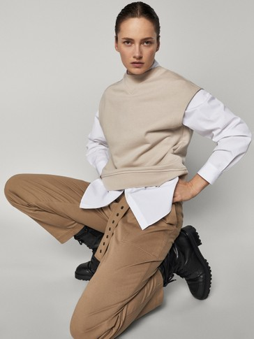 Cotton trousers with belt detail