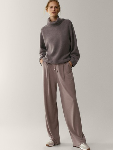 Wide-leg lyocell jogging fit trousers