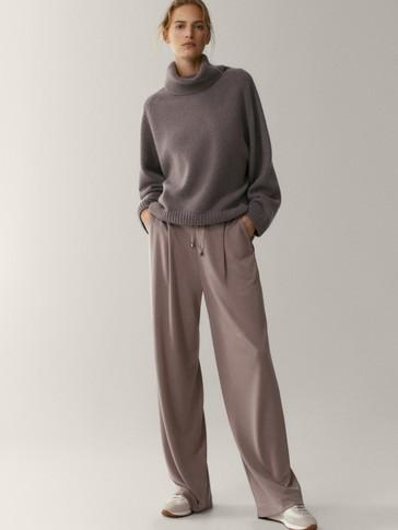 Спортен панталон от лиосел с широки крачоли