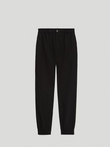 Jogging fit trousers with elastic hems