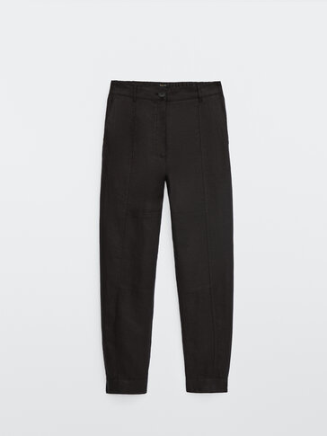 Linen jogging fit trousers with buttoned hems