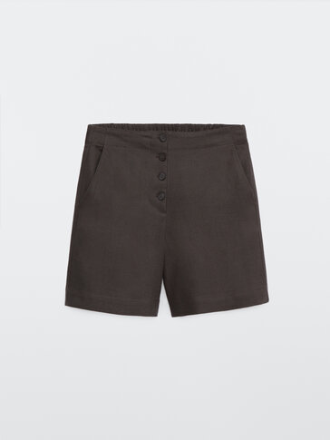100% linen Bermuda shorts with buttons