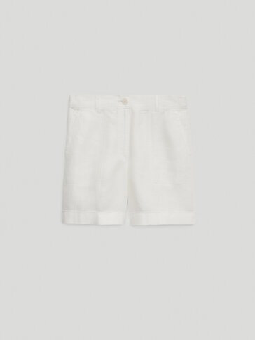 100% linen Bermuda shorts with turn-up hems