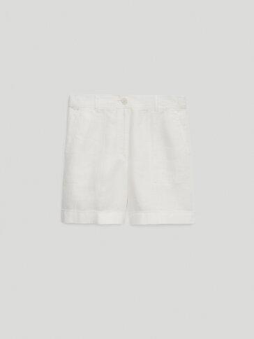 100% linen Bermuda shorts with turn-up hems