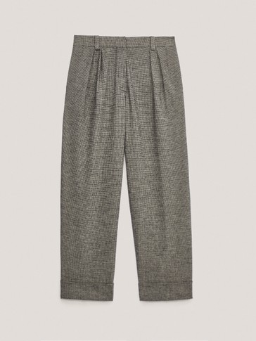 Houndstooth darted trousers