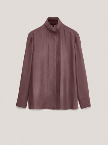 Košulja od 100 % svile s ovratnikom s gumbima