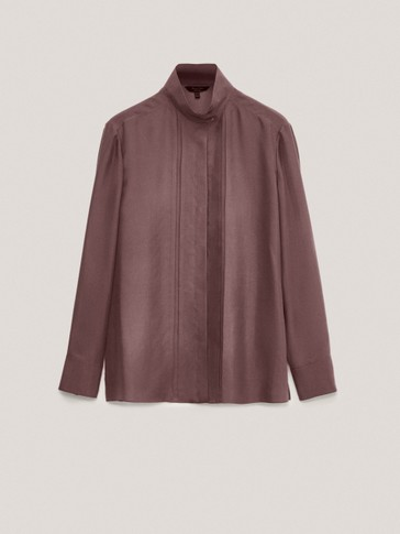 Camisa 100% seda cuello botones