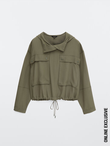 Bomber jacket with pockets and hood