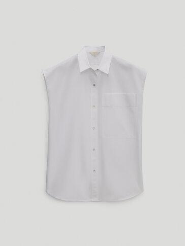 قميص من البوبلين دون أكمام - إصدار محدود