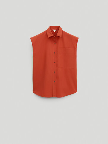 Sleeveless poplin shirt - Limited Edition