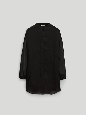 Black 100% ramie blouse Limited Edition