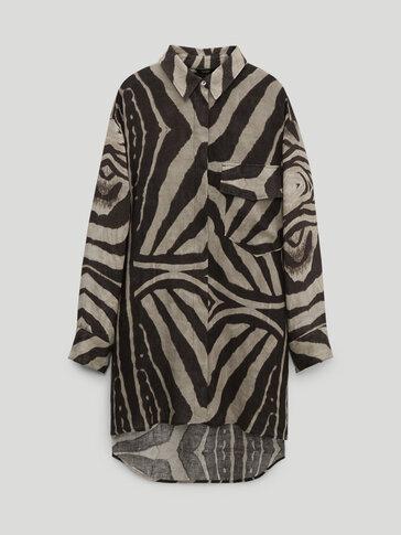 Linen zebra print shirt