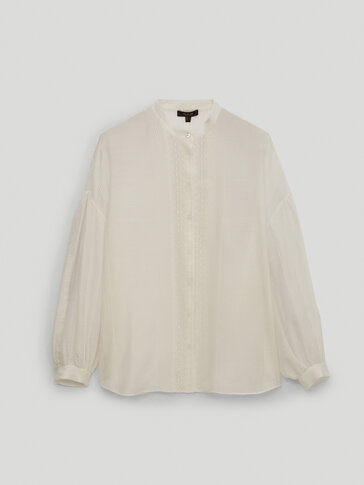 Embroidered cotton and silk shirt