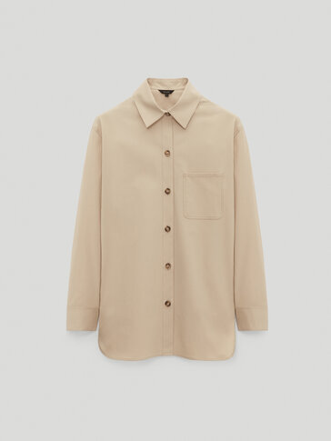 Cotton overshirt with pocket