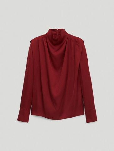Draped satin shirt