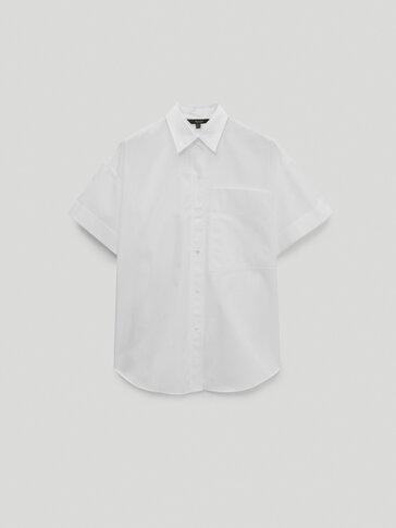 Camisa em popelina de manga curta
