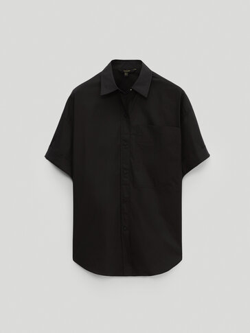 Black short sleeve poplin shirt