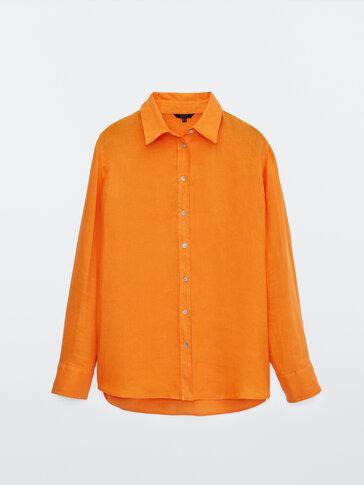 Plain 100% linen shirt
