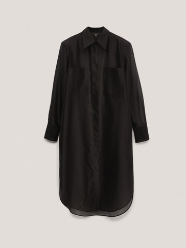 Black cotton, silk and organza oversize blouse