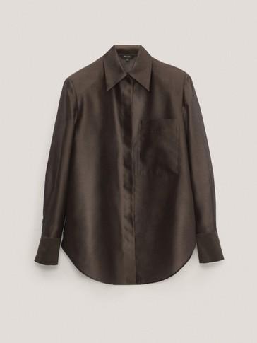Cotton/silk organza shirt with shoulder pads