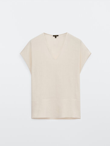 Linen and cotton V-neck top