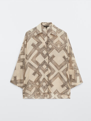 Ramie cotton geometric shirt