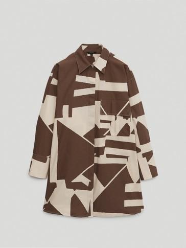 Poplin print oversize blouse