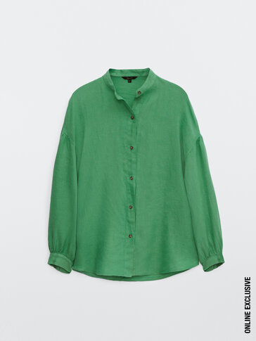 100% linen shirt with puff sleeves