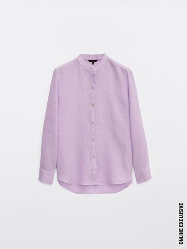 100% linen stand-up collar shirt