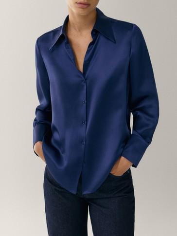 Camisa satinada 100% seda