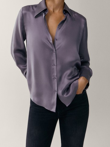 Satiny 100% silk shirt