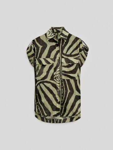 Camisa com estampado de zebra 100% linho